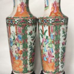 Pair of 19th C Antique Chinese porcelain Canton Vase with stand