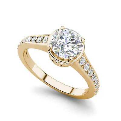 Pave 1.05 Carat VS1/F Round Cut Diamond Engagement Ring Yellow Gold