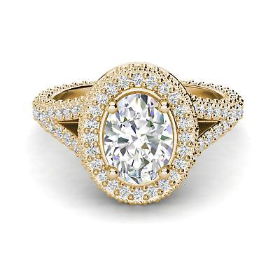 Pave Halo 1.85 Carat VS1/F Oval Cut Diamond Engagement Ring Yellow Gold