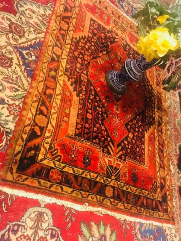 Buy Best Persian Handmade rug small Black and red antique sale rugs tribal