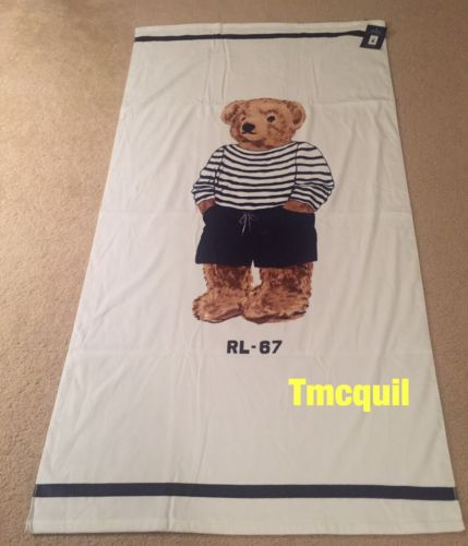 "Buy Best Polo Ralph Lauren Boy Teddy Bear White Beach Towel 66"" Long 100% Cotton NEW"