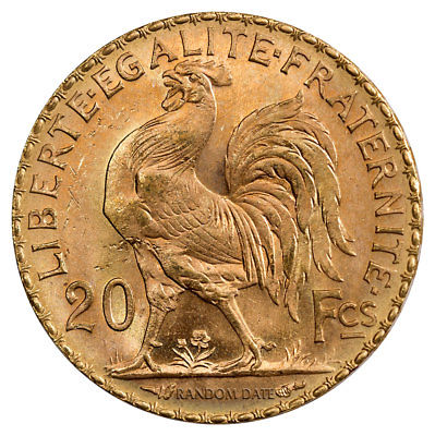 Buy Best Random Date 1899-1915 French Gold 20 Francs Rooster Coin .1867 Oz (AGW) SKU29057