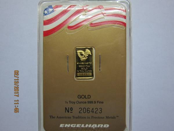Buy Best Rare Engelhard 1/4 Oz Gold bar in assay card.