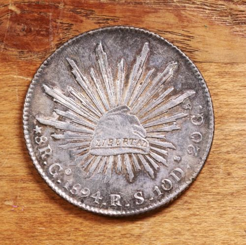 Buy Best Raw 1894 Mexico GO 8R Uncertified Ungraded Mexican Silver 8 Reales Coin