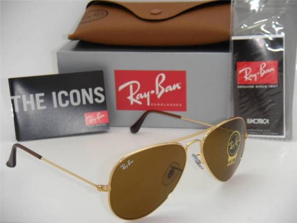 "Ray Ban ""Aviator"" Sunglasses RB3025/ 001/ 33 Brown B-15 Lens 58 mm"