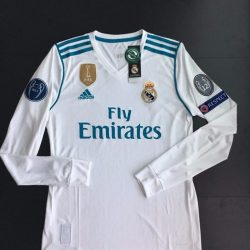 Buy Best Real Madrid Home Long Sleeve Jersey 17/18 Ronaldo Champions League Climacool