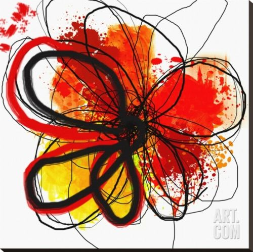 Red Abstract Brush Splash Flower I Stretched Canvas Print by Irena Orlov, 34x...