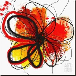Red Abstract Brush Splash Flower I Stretched Canvas Print by Irena Orlov, 38x...