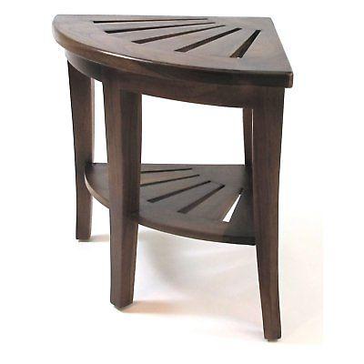 Redmon Genuine Teak Corner Shower Bench, Wood Grain Teak