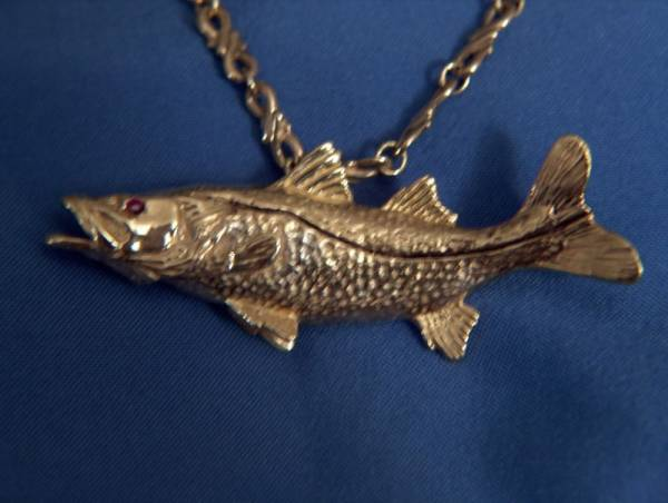 SALTWATER SNOOK FISH/FISHING 14KT GOLD PENDANT CHARM