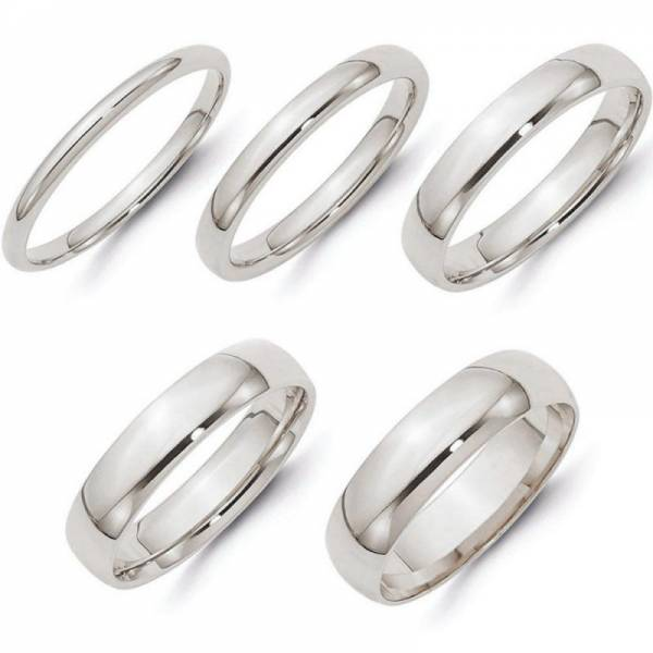 SOLID 14K WHITE GOLD 2MM 3MM 4MM 5MM 6MM PLAIN COMFORT FIT WEDDING BAND RING
