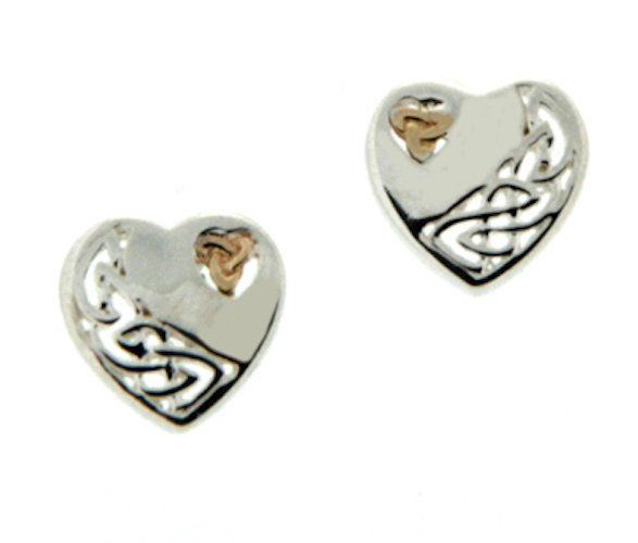 S/S and 10k Gold Celtic Heart Post Earrings PEX3641 KEITH JACK