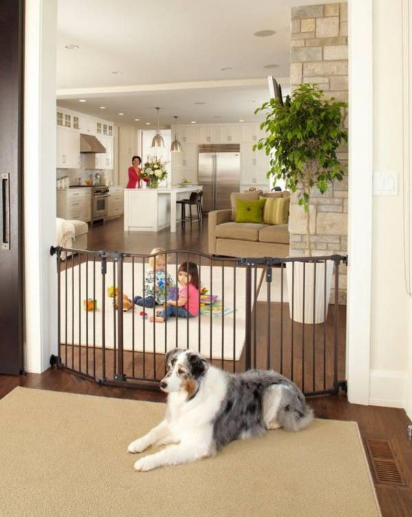 Safety Gate Pet Dog Cat Baby Safety Decor Gate Bronze 38.3In to 72In Wide 30in H