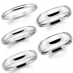 Buy Best Solid 14K White Gold 2mm 3mm 4mm 5mm 6mm Comfort Fit Men Women Wedding Band Ring