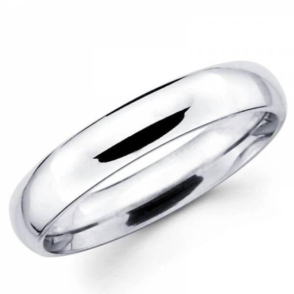 Solid 14K White Gold 2mm 3mm 4mm 5mm 6mm Comfort Fit Men Women Wedding Band Ring