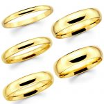 Solid 14K Yellow Gold 2mm 3mm 4mm 5mm 6mm Comfort Fit MenWomen Wedding Band Ring