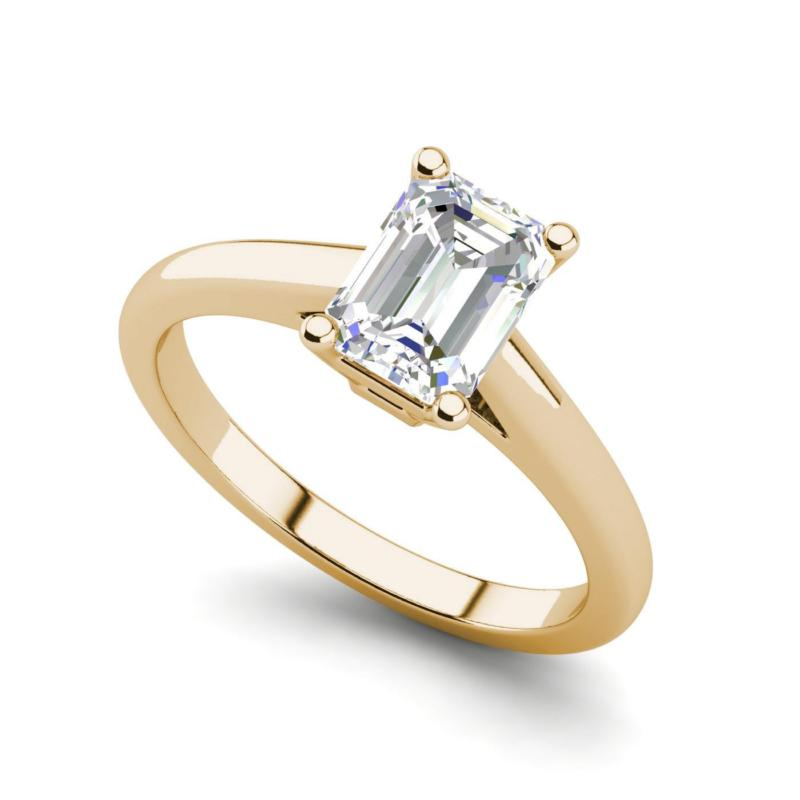 Buy Best Solitaire 1 Carat VS1/D Emerald Cut Diamond Engagement Ring Yellow Gold