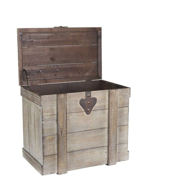 Buy Best Storage Trunk Chest Coffee End Table Medium White Washed Rustic Decorative Wood