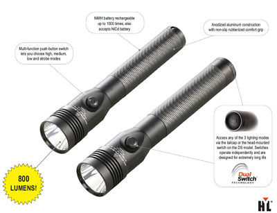 Streamlight Stinger DS LED Rechargeable Flashlight w/2 Smart Chargers 800 Lumens