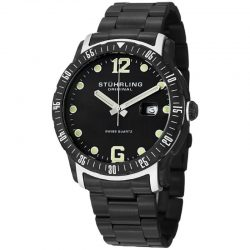 Buy Best Stuhrling Trofeo Men's 45mm Black Steel Bracelet & Case Quartz Watch 421.335B1