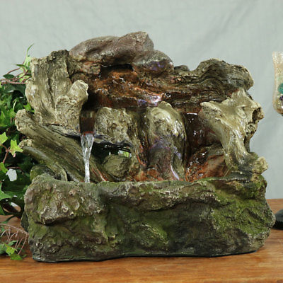 Sunnydaze Aged Tree Trunk Tabletop Fountain with LED Lights 10.5 Inch Tall
