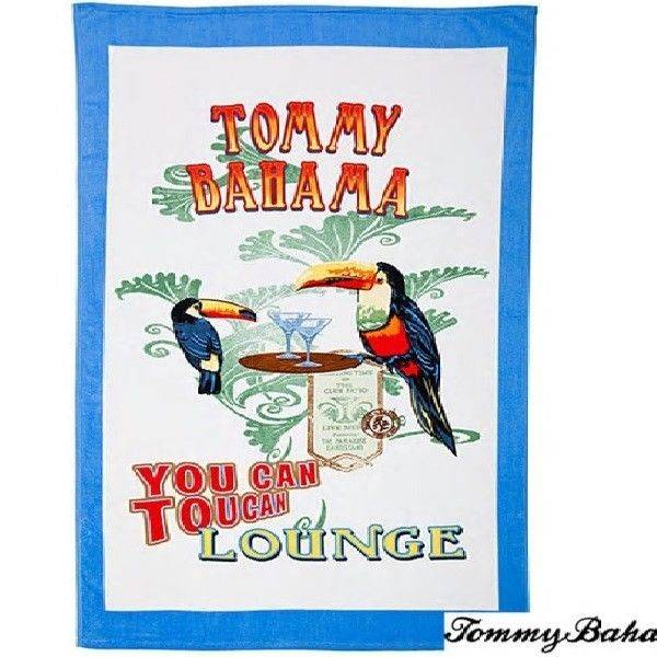 TOMMY BAHAMA 2 PIECE BEACH TOWEL SET POSTCARD FROM PARADISE & TOUCAN LOUNGE
