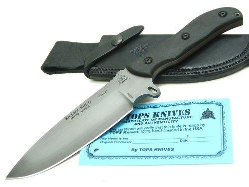 Buy Best TOPS Black SILENT HERO Straight HUNTING Fixed Blade Knife + Sheath New! HERO-02