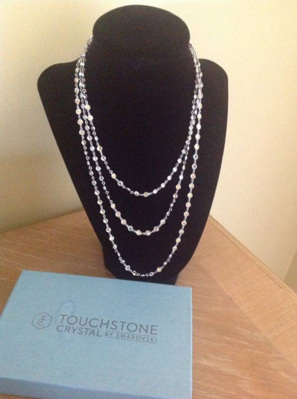 "TOUCHSTONE CRYSTAL-Aurore Boreale Mini Chanelle Necklace-56""-Swarovski Crystal"