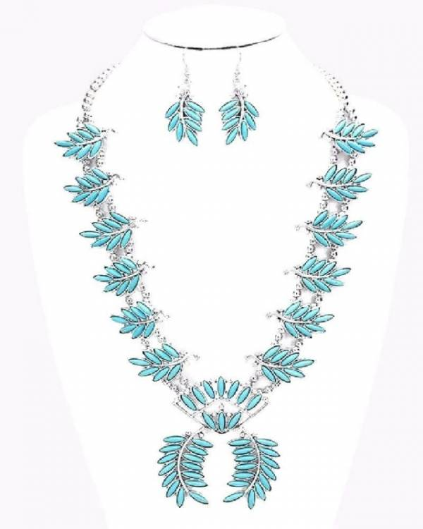 TURQUOISE color stone LEAF NAVAJO style SQUASH BLOSSOM necklace
