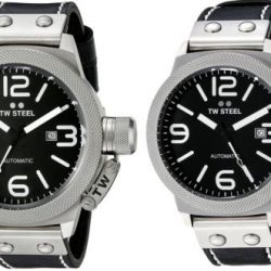 TW Steel Men's Canteen Automatic Black Dial Black Leather Watch - Choice of Size