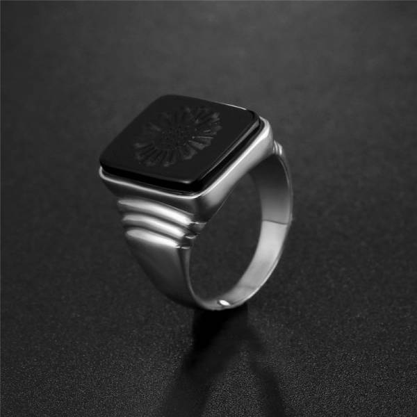 The Great Gatsby Leonardo Dicaprio Men 925 Sterling Silver Ring Black Obsidian