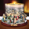 Thomas Kinkade Bradford Exchange It's Christmas Time Candle Holder Centerpiece