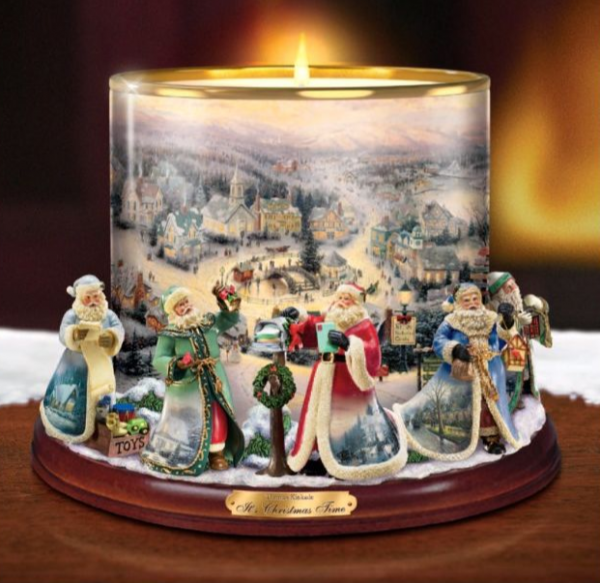 Buy Best Thomas Kinkade Bradford Exchange It's Christmas Time Candle Holder Centerpiece