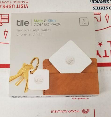 Tile Mate & Slim Combo Pack Key/Wallet/Item Finder, 4-pack Pack, New