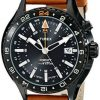 Buy Best Timex T2P427, Men's GMT-3 Time Zones Leather Watch, Indiglo, Intelligent Quartz