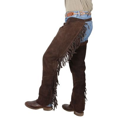 Buy Best Tough-1 Western Fringed Chaps Suede Leather Full Length Zipper Adjustable Buckle