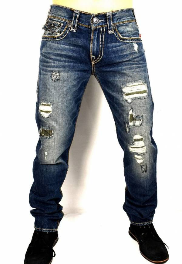 True Religion Men's Geno Distressing Repaired Slim Super T Jeans - ME08NYL7