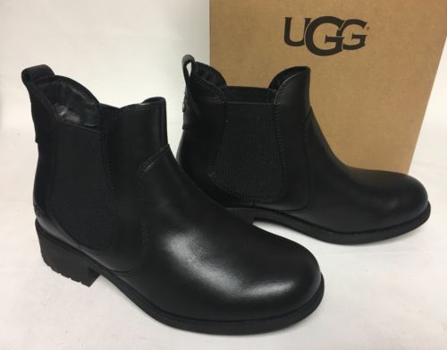 UGG Australia Bonham Water Resistant Black Leather Boot Ankle Bootie sz 1013893
