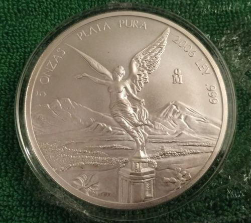 Buy Best ULTRA RARE! 2006 MEXICO SILVER LIBERTAD 5 oz COIN, 5 ONZAS KEY DATE LOW MINTAGE!