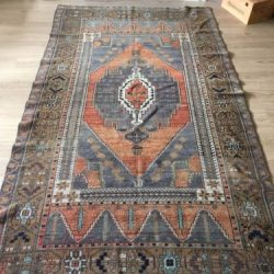 """VINTAGE ISPARTA WOOL TURKISH HAND-KNOTTED RUG, 7'8""""x 4'5"""" FREE SHIPPING!!!"""