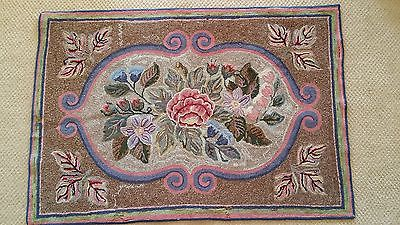 Buy Best Vintage Antique Primitive Hooked Area Rug Pearl McGowan Floral Style Design OLD