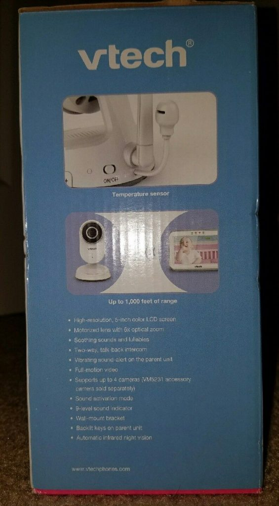 Vtech video baby monitor with motorized 6x optical zoom lens