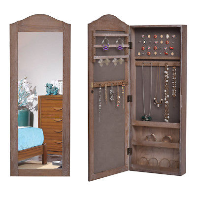 Buy Best Wall Hang Mounted Mirrored Jewelry Cabinet Armoire Storage Organizer Christmas