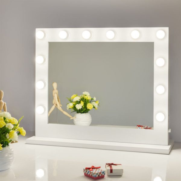 Buy Best White Hollywood Makeup Vanity Mirror with Light Stage Large Beauty Mirror Dimmer