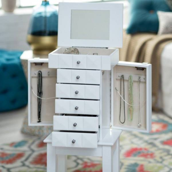 White Jewelry Armoire Small Standing Drawers Wood Cabinet Chest Stand Organizer