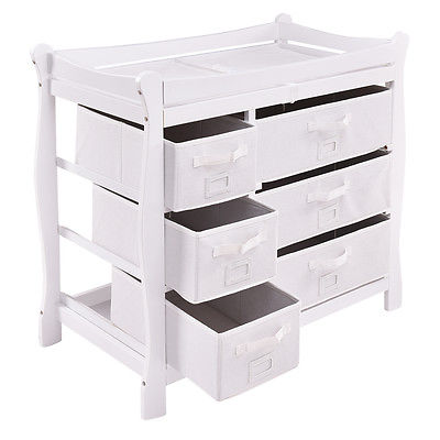 Buy Best White Sleigh Style Baby Changing Table Diaper 6 Basket Drawer Storage Nursery
