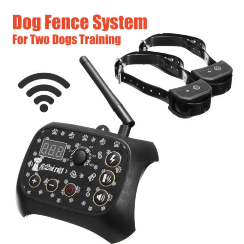 Wireless 2 Dog Fence No-Wire Pet Containment System Rechargeable & Waterproof