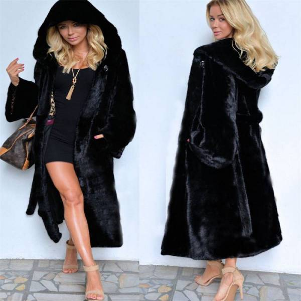 Women Lining Black Faux Parka Coat Winter Warm Long Thick Jacket Hooded Outdoor