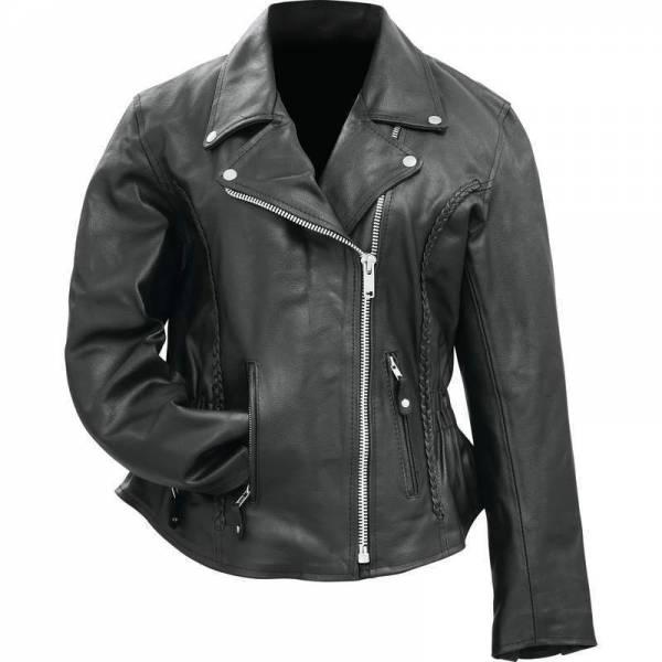 Womens Black Solid Genuine Buffalo Leather MOTORCYCLE JACKET Coat Biker Lined