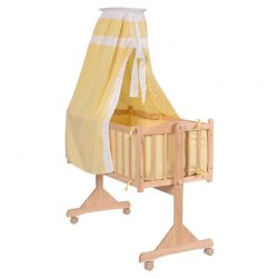Wood Baby Cradle Rocking Crib Bassinet Bed Sleeper Born Portable Nursery Yellow